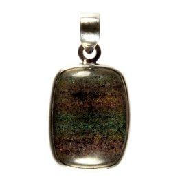 Zilveren hanger opaal (zwart) rechthoek 2,4 x 1,8 cm