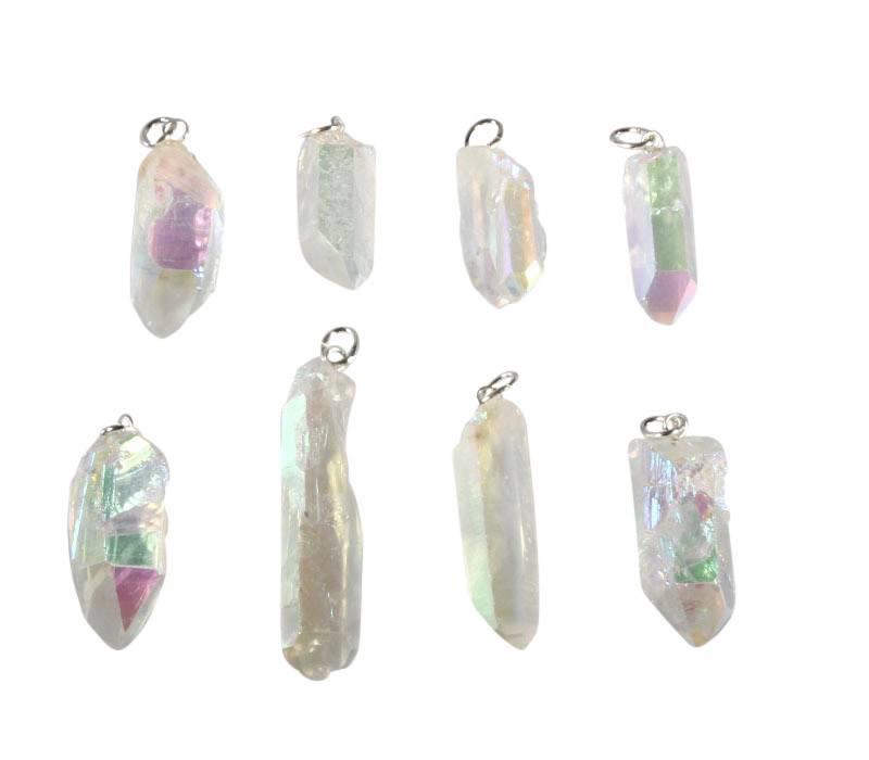 Angel aura kwarts hanger kristal met zilveren oogje