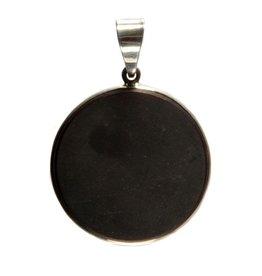 Zilveren hanger shungiet rond 3,1 cm