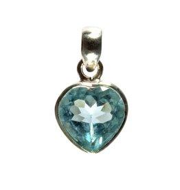 Zilveren hanger topaas (blauw) facet hart 1 cm