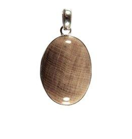 Zilveren hanger versteend hout ovaal 2,4 x 1,7 cm (1)