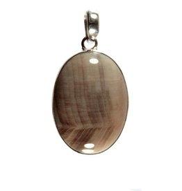 Zilveren hanger versteend hout ovaal 2,4 x 1,7 cm (2)