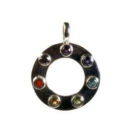 Zilveren hanger chakra cirkel