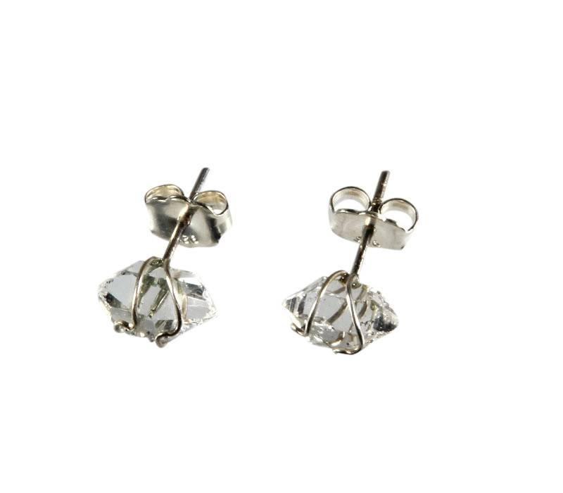 Zilveren oorstekers Herkimer diamant