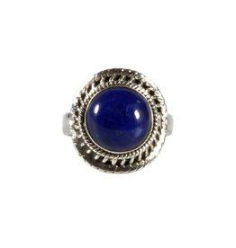 Zilveren ring lapis lazuli maat 16 3/4   rond 1 cm