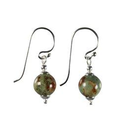 Zilveren oorbellen opaal (groen) rond 8 mm