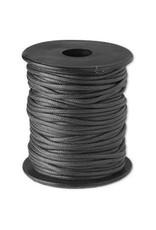 Waskoord zwart 1 meter   2 mm dik