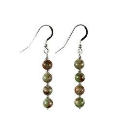 Zilveren oorbellen opaal (groen) 4 bolletjes