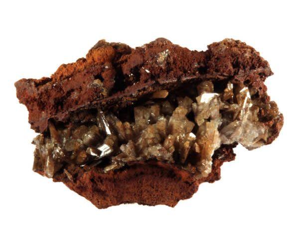 Adamiet kristallen op limoniet 25 - 50 gram