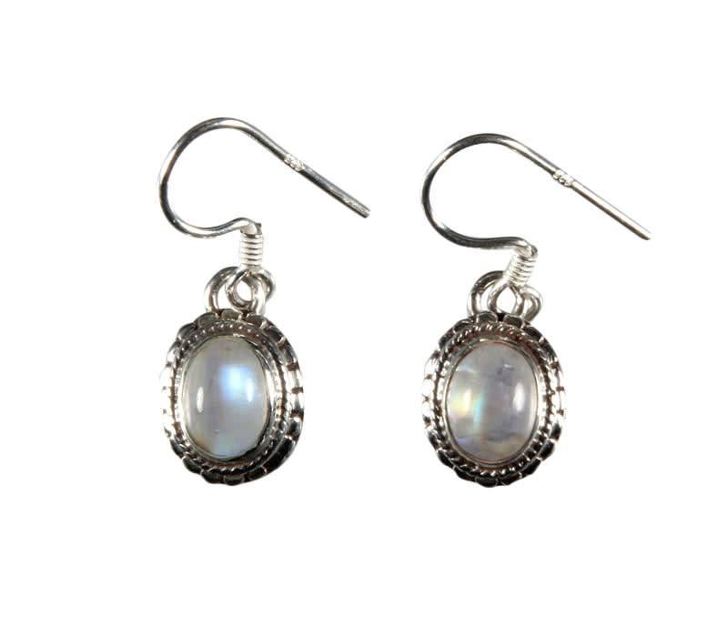 zilveren oorbellen maansteen (regenboog) | ovaal bewerkte rand