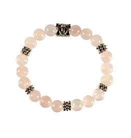 Zilveren armband rozenkwarts met bedel weegschaal reliëf