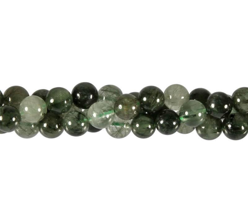 Toermalijnkwarts (groen) kralen rond 8 mm (streng van 40 cm)