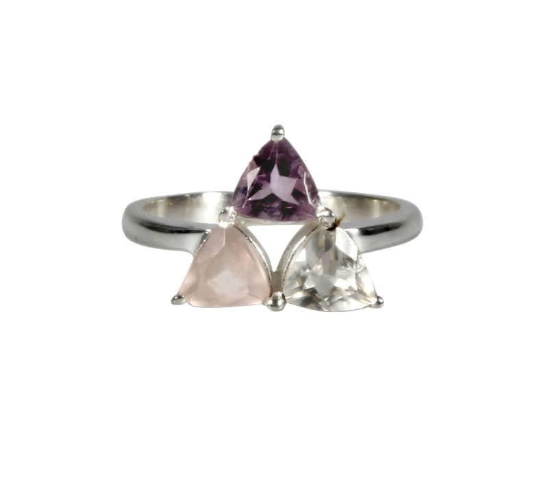 Zilveren ring gouden driehoek of harmonie maat 19