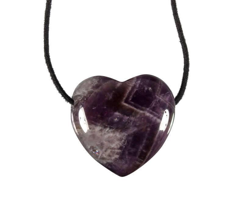 Amethistkwarts hanger hart doorboord