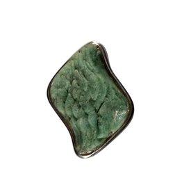 Zilveren hanger heulandiet (groen) | ruit 3 x 2,3 cm