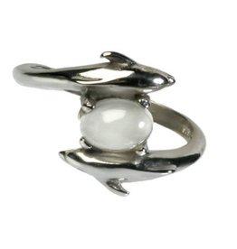Zilveren ring maansteen (wit) maat 18   dolfijnen