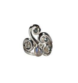 Zilveren ring maansteen (regenboog) en aquamarijn maat 17 1/2   druppel 7 x 5 mm