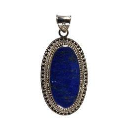 Zilveren hanger lapis lazuli | 3,5 x 1,7 cm