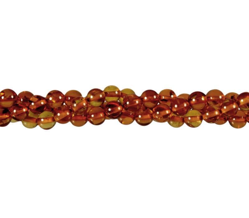 Barnsteen (cognac) kralen rond 6 mm (streng van 40 cm)