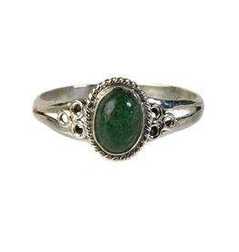 Zilveren ring aventurijn (groen) maat 20   ovaal cirkels
