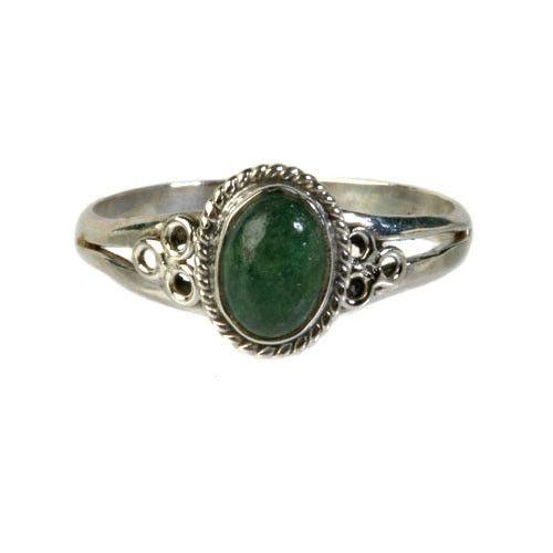 Zilveren ring aventurijn (groen) maat 20 | ovaal cirkels