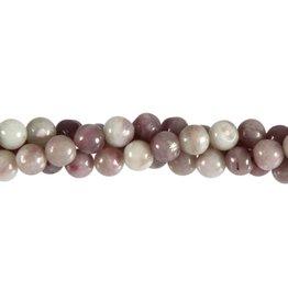 Toermalijn (roze) met lepidoliet in kwarts kralen rond 6 mm (streng van 40 cm)