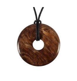 Versteend hout hanger donut 4 cm