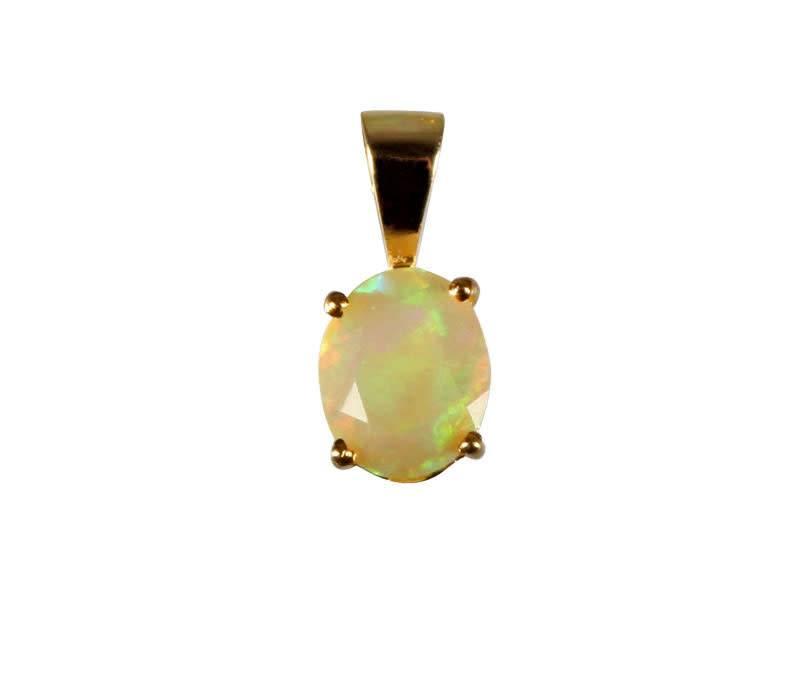 Gouden (14k) hanger opaal (edel) ovaal facet gezet 10 x 8 mm