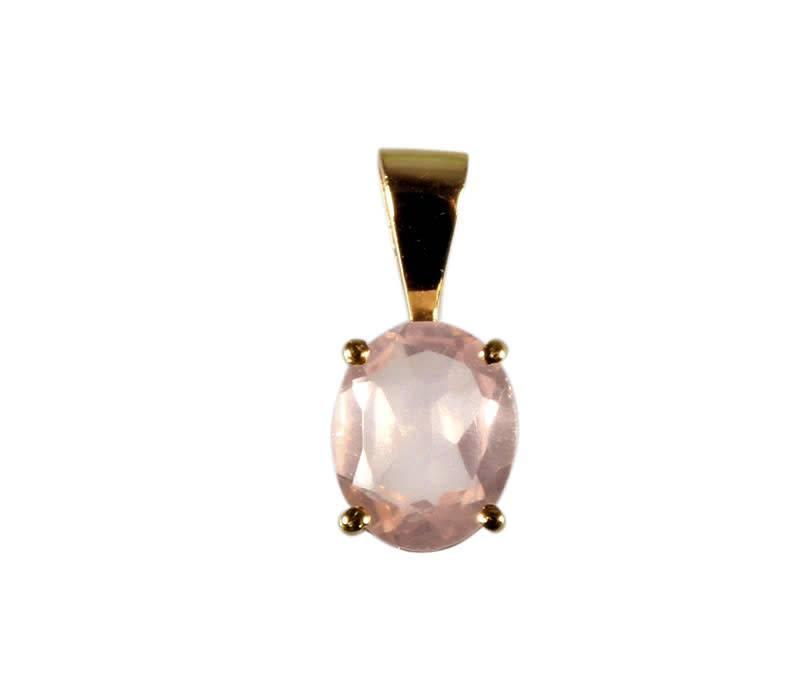 Gouden (14k) hanger rozenkwarts ovaal facet gezet 10 x 8 mm