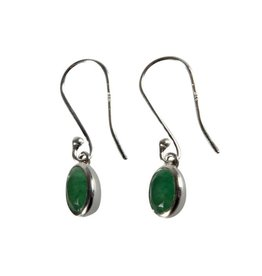 Zilveren oorbellen aventurijn (groen) ovaal facet 7 x 5 mm