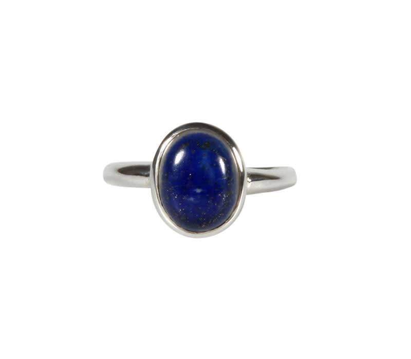 Zilveren ring lapis lazuli maat 19 | ovaal 10 x 8 mm