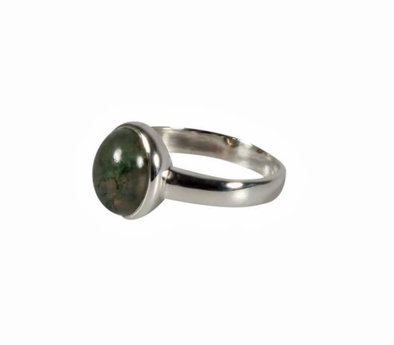Zilveren ring mosagaat maat 19 | ovaal 10 x 8 mm