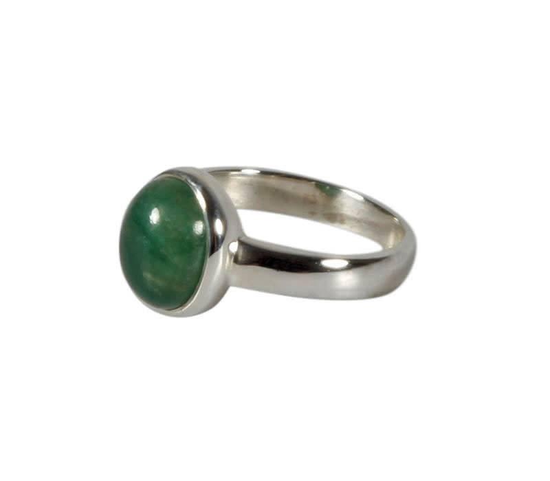 Zilveren ring aventurijn (groen) maat 17 | ovaal 10 x 8 mm