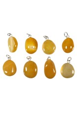 Agaat (geel) hanger met zilveren oogje