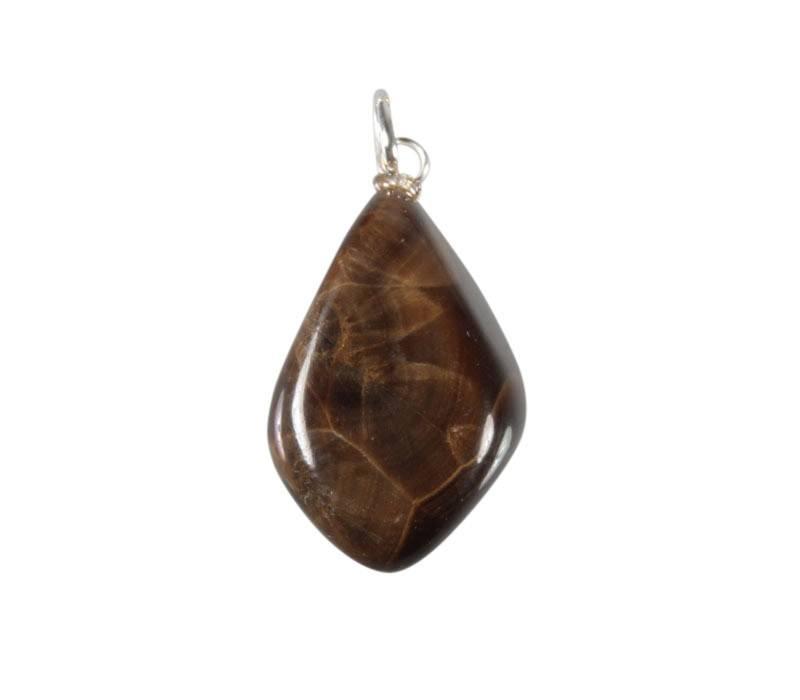 Bariet (bruin) hanger met zilveren oogje