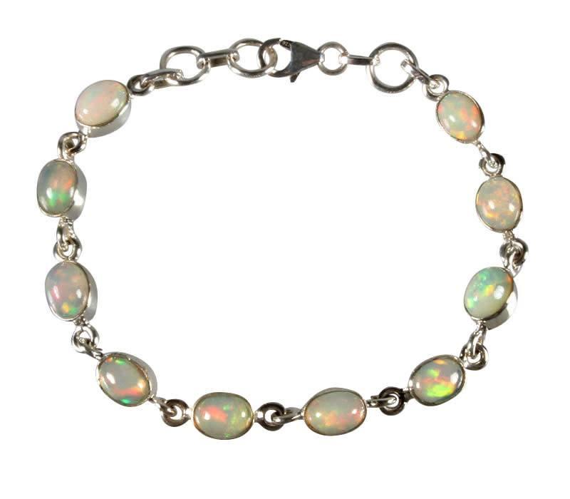 Zilveren armband opaal (edel) ovaal 10 stenen