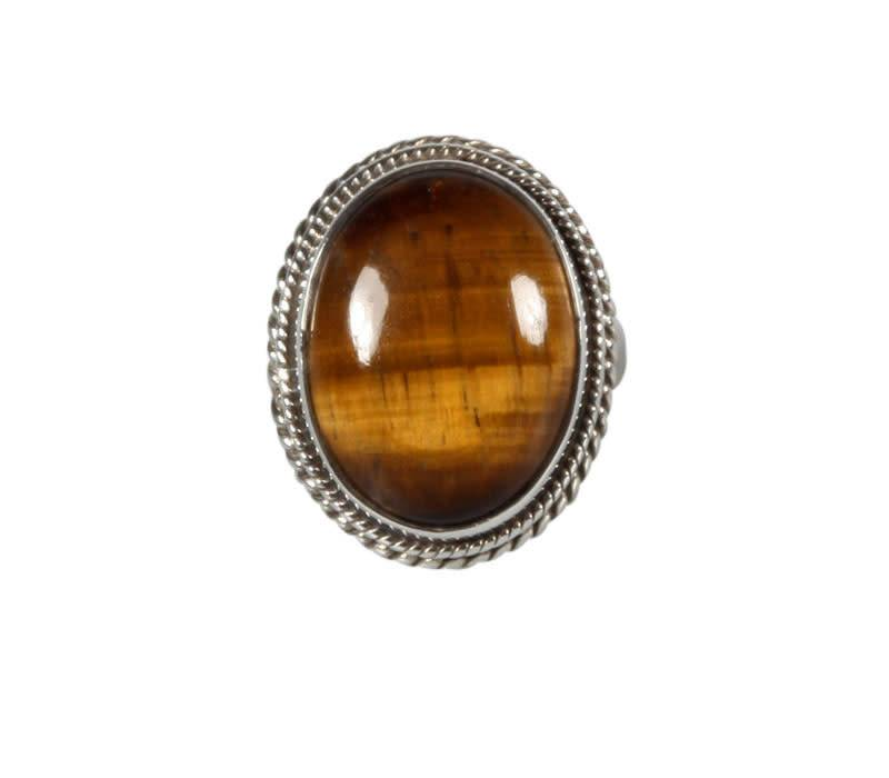 Zilveren ring tijgeroog maat 17 | ovaal 1,9 x 1,4 cm