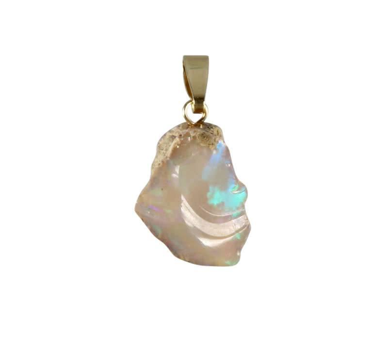 Opaal hanger met 14k gouden oogje