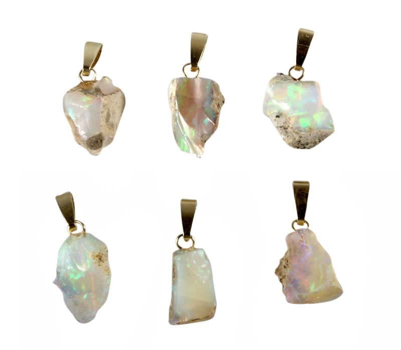 Opaal (edel) hanger met 14k gouden oogje