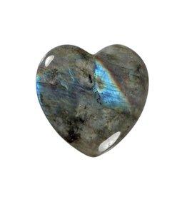 Labradoriet A-kwaliteit edelsteen hart 4 cm