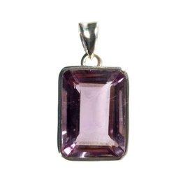 Zilveren hanger amethist rechthoek 1,6 x 1,2 cm