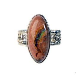 Zilveren ring opaal (vuur) maat 17 1/2 | markies 2,2 x 1 cm