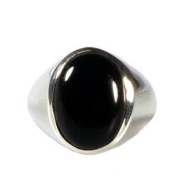 Zilveren ring onyx maat 20 1/2 | ovaal brede rand 14 x 10 mm