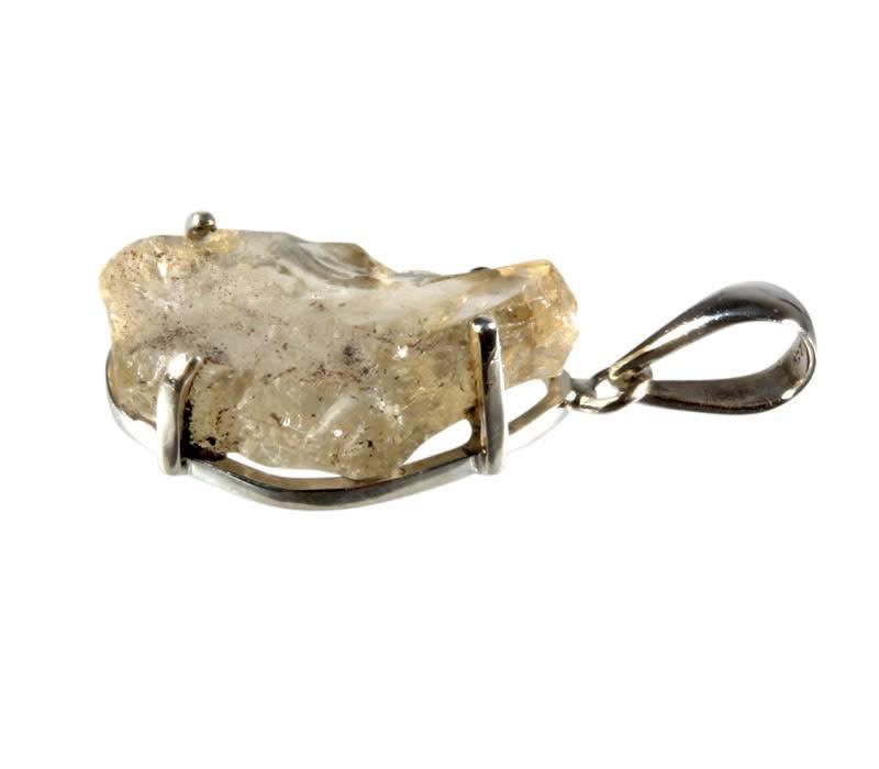 Zilveren hanger labradoriet (goud) | ruw gezet 2,7 x 1,8 cm