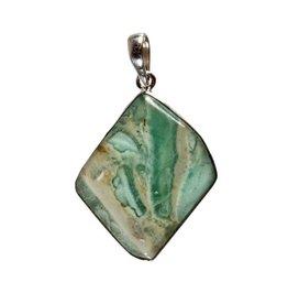 Zilveren hanger smithsoniet (groen) | ruit 3,5 x 3 cm