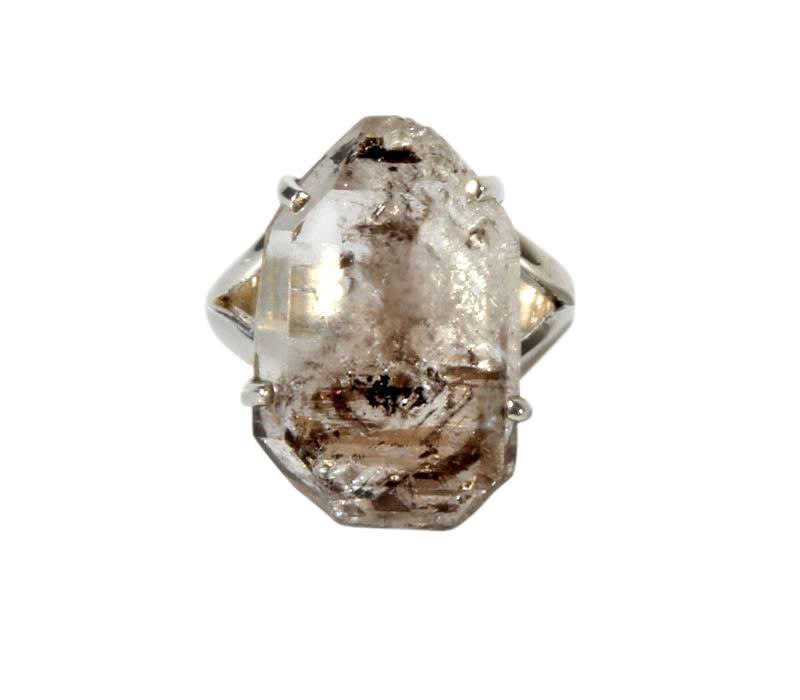 Zilveren ring Tibetaanse zwarte kwarts maat 19 | kristal 2,3 x 1,5 cm