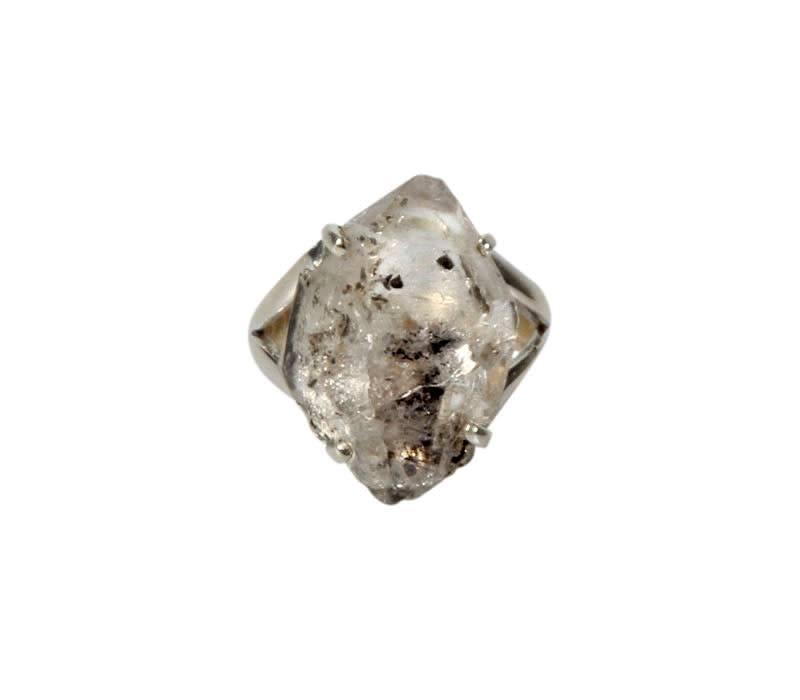 Zilveren ring Tibetaanse zwarte kwarts maat 18   kristal 2,2 x 1,4 cm