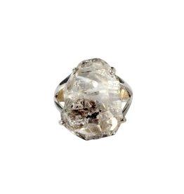 Zilveren ring Tibetaanse zwarte kwarts maat 19 1/2 | kristal 2,2 x 1,6 cm