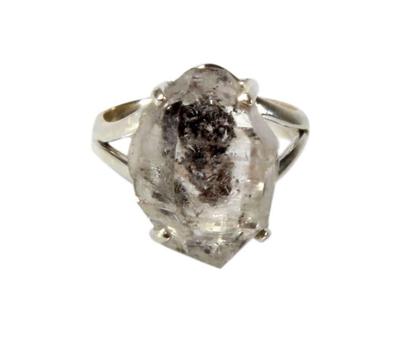 Zilveren ring Tibetaanse zwarte kwarts maat 17 | kristal 1,7 x 1,2 cm