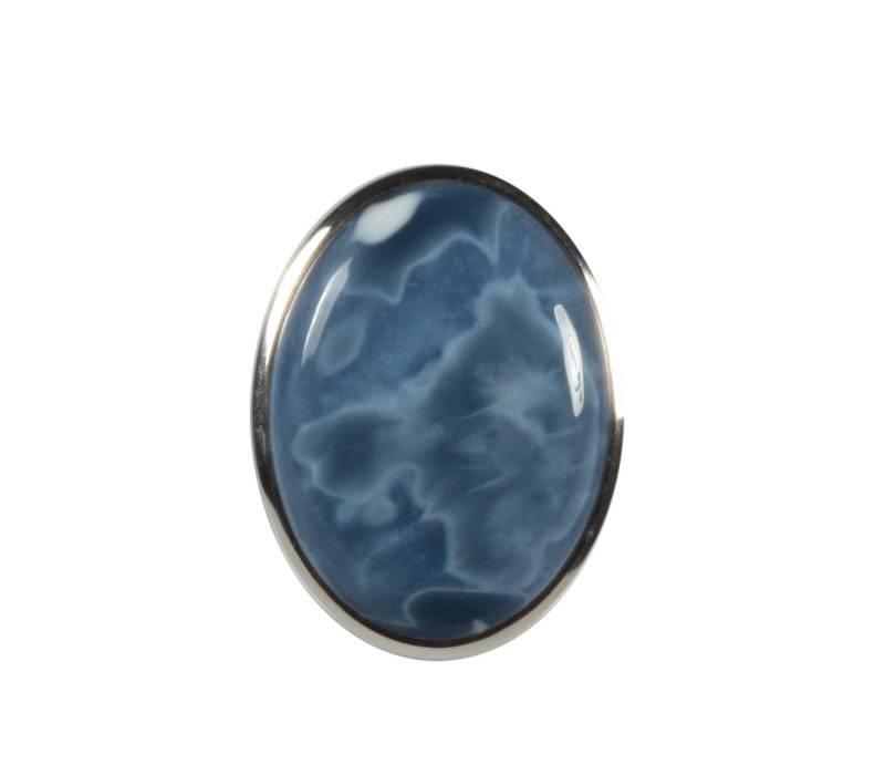 Zilveren ring opaal (blauw) maat 19 | ovaal 2,9 x 2,1 cm